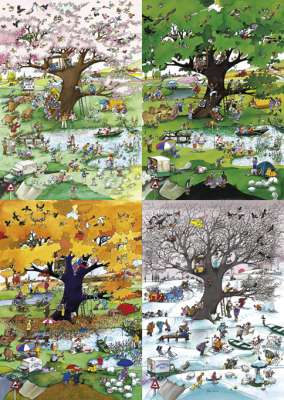 Four Seasons (aka 4 Seasons) (HEY29873), a 2000 piece jigsaw puzzle by HEYE. Click to view larger image.