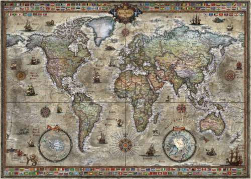 Retro World Map (HEY29871), a 1000 piece jigsaw puzzle by HEYE. Click to view larger image.