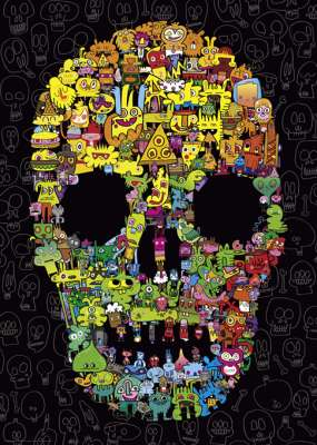Doodle Skull (HEY29850), a 1000 piece jigsaw puzzle by HEYE. Click to view larger image.