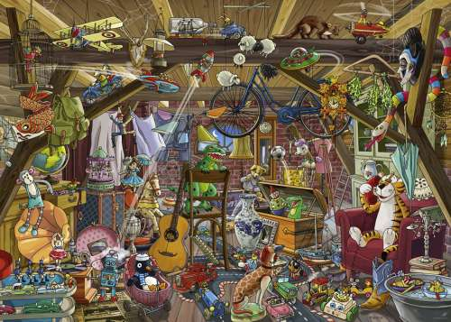 In The Attic (HEY29885), a 1000 piece jigsaw puzzle by HEYE. Click to view larger image.