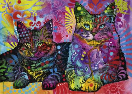 Devoted 2 Cats (HEY29864), a 1000 piece jigsaw puzzle by HEYE. Click to view larger image.