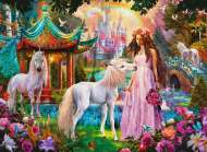 Princess with Unicorn (Glitter Edition) (RB13617-9), a 100 piece Ravensburger jigsaw puzzle.