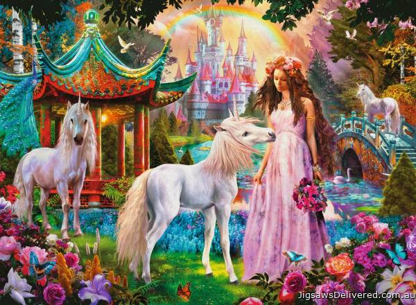 Princess with Unicorn (Glitter Edition) (RB13617-9), a 100 piece jigsaw puzzle by Ravensburger.