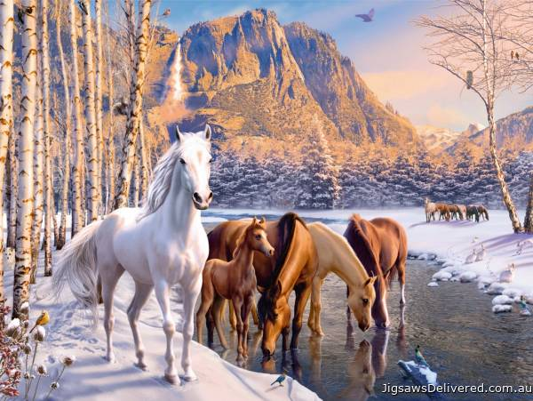 Winter Horses (RB12690-3), a 200 piece jigsaw puzzle by Ravensburger.