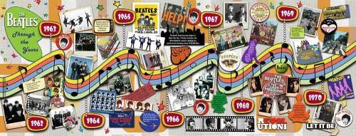 The Beatles Through the Years (Panoramic) (RB15096-0), a 1000 piece jigsaw puzzle by Ravensburger. Click to view larger image.