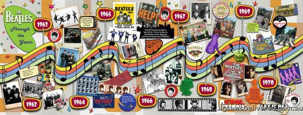 The Beatles Through the Years (Panoramic) (RB15096-0), a 1000 piece jigsaw puzzle by Ravensburger.