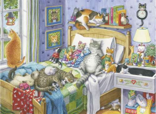Cat Nap (Large Pieces) (RB14966-7), a 500 piece jigsaw puzzle by Ravensburger. Click to view larger image.