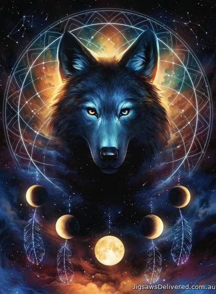 Lunar Wolf (Glow in the Dark) (RB13970-5), a 500 piece jigsaw puzzle by Ravensburger.
