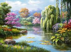 Romantic Pond View (RB14827-1), a 500 piece Ravensburger jigsaw puzzle.