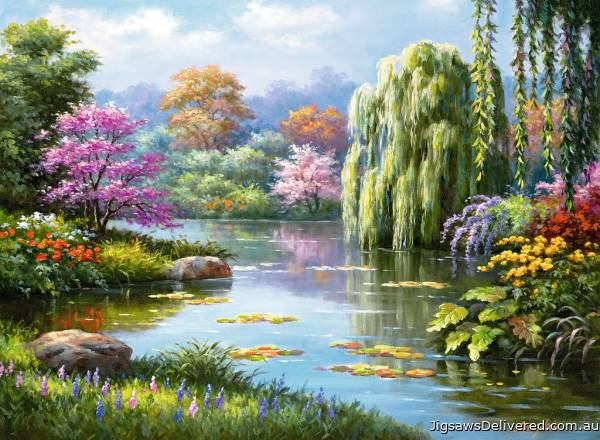 Romantic Pond View (RB14827-1), a 500 piece jigsaw puzzle by Ravensburger.