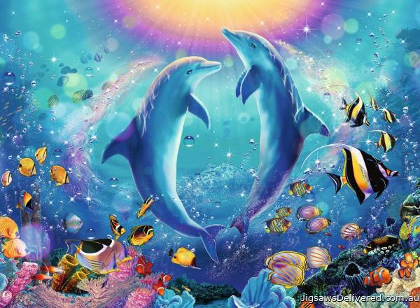 Dancing Dolphins (RB14811-0), a 500 piece jigsaw puzzle by Ravensburger.