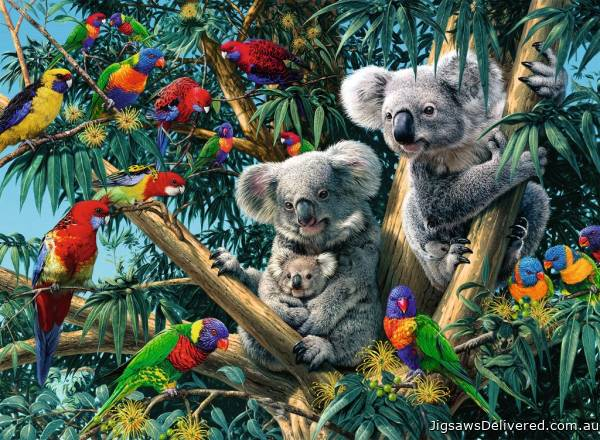 Koalas in a Tree (RB14826-4), a 500 piece jigsaw puzzle by Ravensburger.