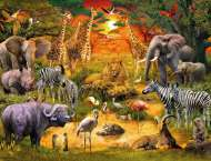 Gathering at the Waterhole (RB16702-9), a 2000 piece jigsaw puzzle by Ravensburger. Click to view this jigsaw puzzle.
