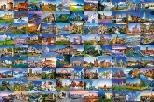 99 Beautiful Places of Europe (RB17080-7), a 3000 piece jigsaw puzzle by Ravensburger. Click to view larger image.