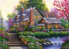 Romantic Cottage (RB15184-4), a 1000 piece Ravensburger jigsaw puzzle.
