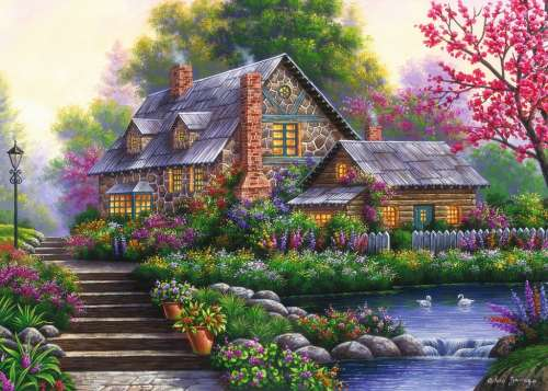 Romantic Cottage (RB15184-4), a 1000 piece jigsaw puzzle by Ravensburger. Click to view larger image.