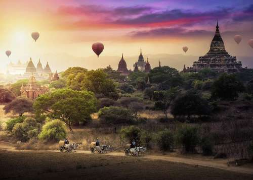 Hot Air Balloons over Myanmar (RB15153-0), a 1000 piece jigsaw puzzle by Ravensburger. Click to view larger image.