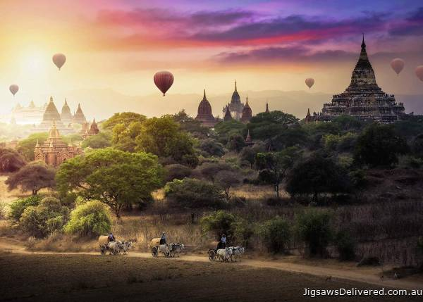 Hot Air Balloons over Myanmar (RB15153-0), a 1000 piece jigsaw puzzle by Ravensburger.