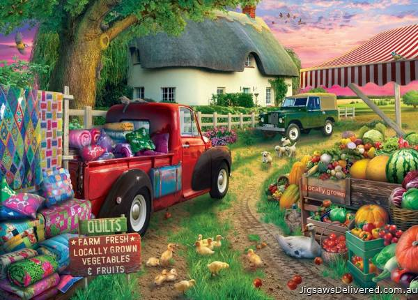 Farmhouse Market (Large Pieces) (HOL771226), a 500 piece jigsaw puzzle by Holdson.