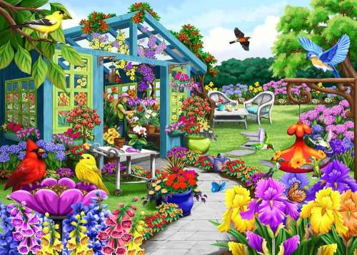 Greenhouse Path (Birdsong) (HOL771196), a 1000 piece jigsaw puzzle by Holdson. Click to view larger image.