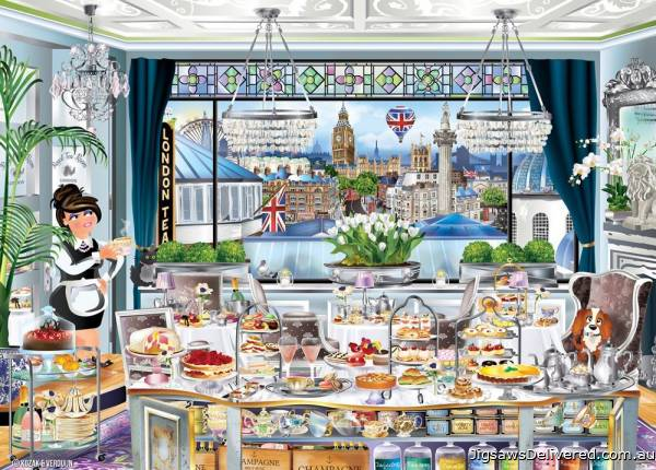 London Tea Party (Windows to the World) (HOL771141), a 1000 piece jigsaw puzzle by Holdson.