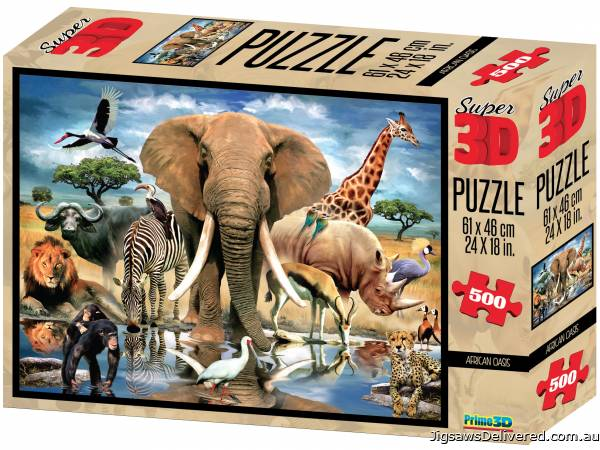 African Oasis (3D Effect) (CAA10065), a 500 piece jigsaw puzzle by Crown and Andrews.