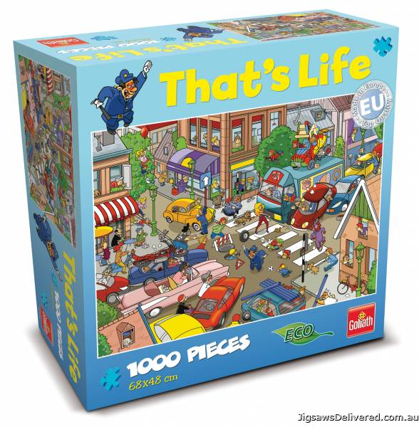 Traffic Jam (That's Life) (CAA71309), a 1000 piece jigsaw puzzle by Crown and Andrews.