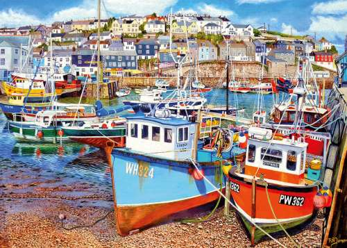 Mevagissey Harbour, Cornwall (Large Pieces) (GIB035254), a 500 piece jigsaw puzzle by Gibsons. Click to view larger image.