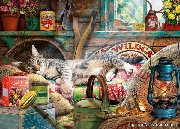 Snoozing in the Shed (Large Pieces) (GIB035353), a 500 piece jigsaw puzzle by Gibsons.