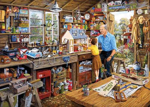 Grandad's Workshop (Large Pieces) (GIB035339), a 500 piece jigsaw puzzle by Gibsons. Click to view larger image.