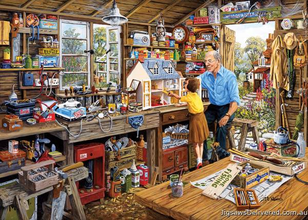 Grandad's Workshop (Large Pieces) (GIB035339), a 500 piece jigsaw puzzle by Gibsons.
