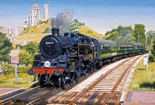 Corfe Castle Crossing (GIB031157), a 500 piece jigsaw puzzle by Gibsons. Click to view larger image.