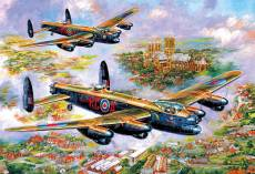 Lancasters over Lincoln. Click to view this product
