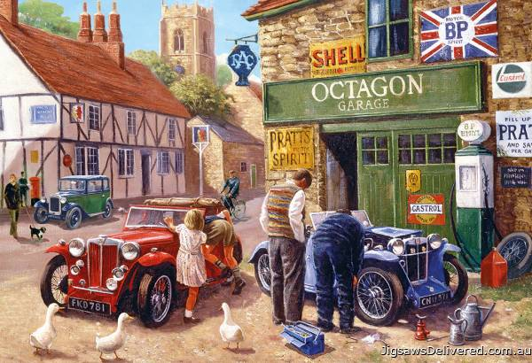 Octagon Garage (GIB030891), a 500 piece jigsaw puzzle by Gibsons.