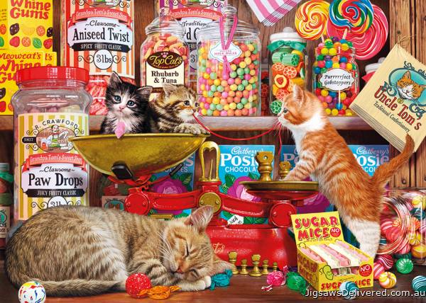 Paw Drops and Sugar Mice (GIB062373), a 1000 piece jigsaw puzzle by Gibsons.