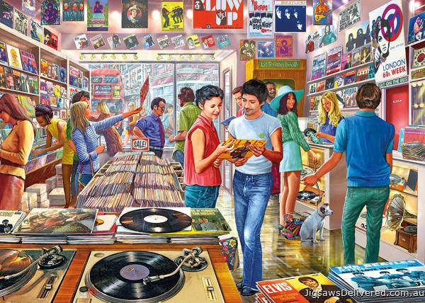 Retro Records (GIB062557), a 1000 piece jigsaw puzzle by Gibsons.