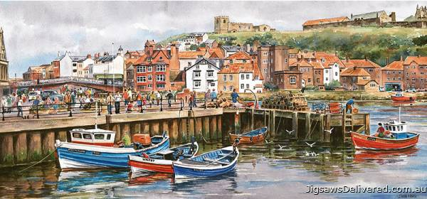 Whitby Harbour, UK (GIB003741), a 636 piece jigsaw puzzle by Gibsons.