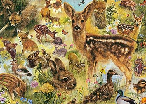 Young Wildlife (JUM18819), a 1000 piece jigsaw puzzle by Jumbo.