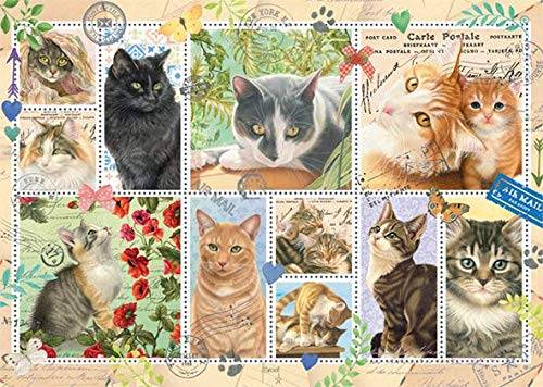 Cat Stamps (JUM18813), a 1000 piece jigsaw puzzle by Jumbo.