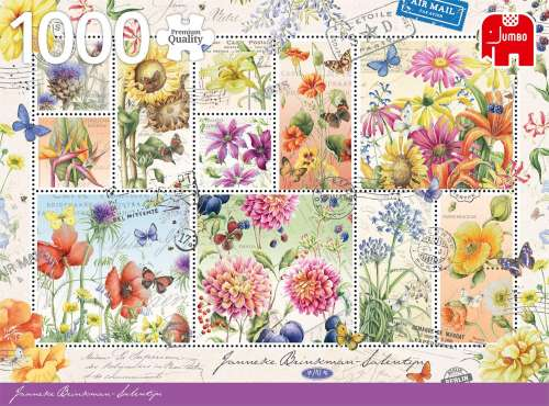 Summer Flowers Stamps (JUM18812), a 1000 piece jigsaw puzzle by Jumbo. Click to view larger image.