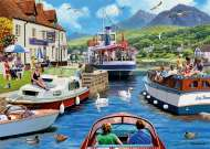 A Day on the River (JUM11241), a 1000 piece jigsaw puzzle by Jumbo and artist Kevin Walsh. Click to view this jigsaw puzzle.
