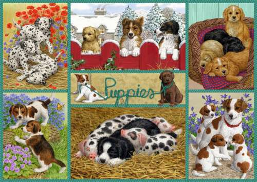 Happy Puppies (JUM11219), a 500 piece jigsaw puzzle by Jumbo. Click to view larger image.