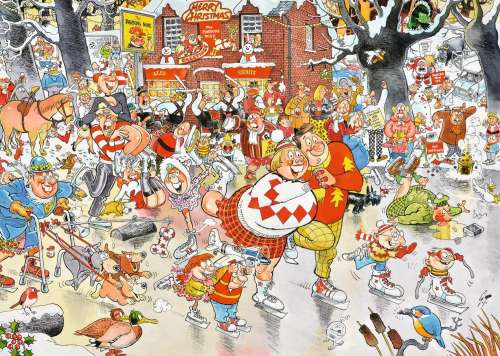 Christmas on Ice (JUM11223), a 1000 piece jigsaw puzzle by Jumbo. Click to view larger image.