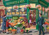 The Greengrocer (JUM11232), a 1000 piece jigsaw puzzle by Jumbo and artist Vic McLindon. Click to view this jigsaw puzzle.