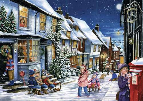 Playing in the Snow (JUM11229), a 1000 piece jigsaw puzzle by Jumbo. Click to view larger image.