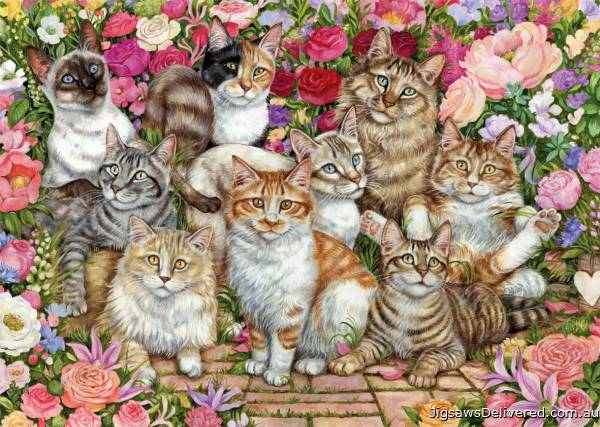 Floral Cats (JUM11246), a 1000 piece jigsaw puzzle by Jumbo.