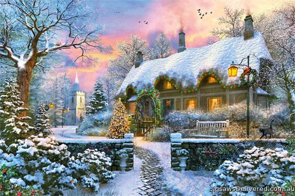 Whitesmith's Cottage in Winter (JUM18830), a 1500 piece jigsaw puzzle by Jumbo.