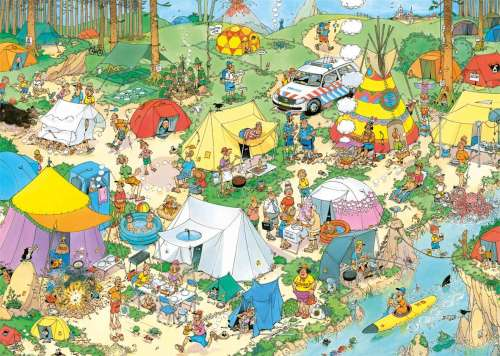 Camping in the Forest (1000pc) (JUM19086), a 1000 piece jigsaw puzzle by Jumbo. Click to view larger image.