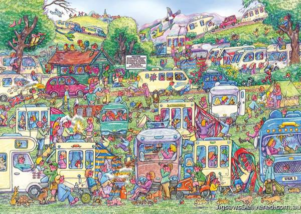 Caravan Chaos (GIB62588), a 1000 piece jigsaw puzzle by Gibsons.