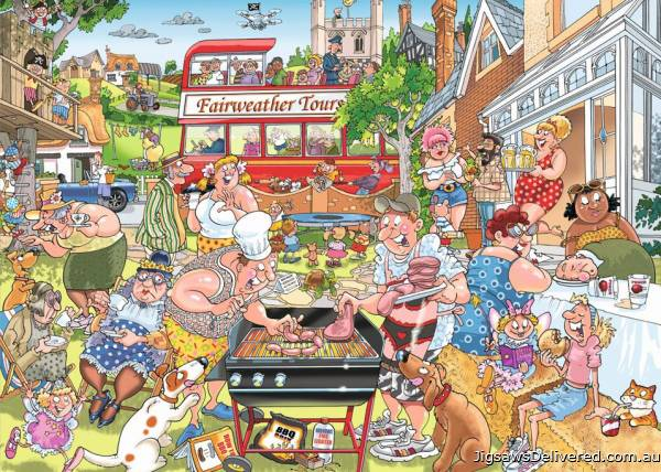 A Typical British BBQ! (Mystery Wasgij 15) (HOL771257), a 1000 piece jigsaw puzzle by Holdson.